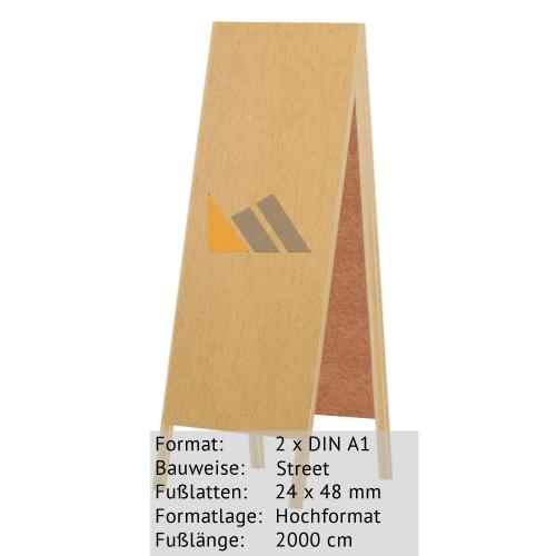 Holz-Dachständer zum Bekleben mit Plakaten 2 x DIN A1 24 x 48 mm günstig online kaufen bei McPoster.com