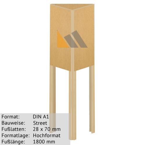 Holz-Dreieckständer zum Bekleben mit Plakaten DIN A1 28 x 70 mm günstig online kaufen bei McPoster.com
